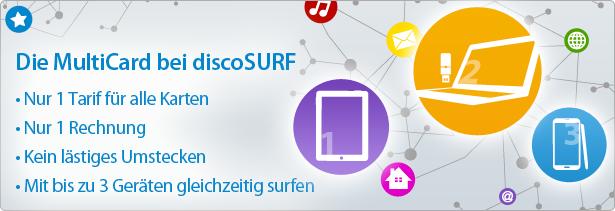 Die Multicard bei discoSURF - mit bis zu 3 Geräten gleichzeitig surfen